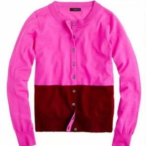 J. Crew Tippi Color Block Merino Wool Cardigan XS